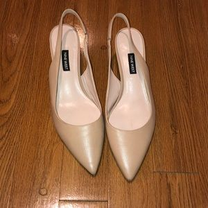 Nine West tan kitten heel worn once